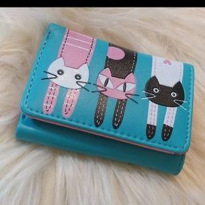 Handbags - 💎HP!💎 Blue faux leather kitty cat women's wallet